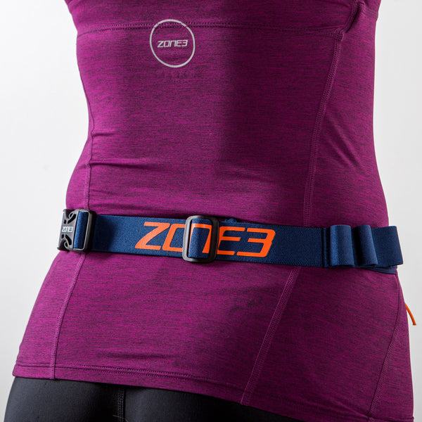 Ultimate Race Number Belt With Gel Loops blue back