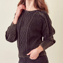 Load image into Gallery viewer, ELLE WASHED CABLE KNIT SWEATER