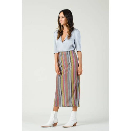 ARNEIS TEXTURED STRIPED MIDI SKIRT
