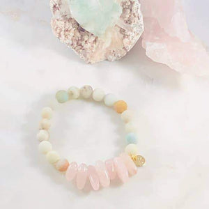 PEACE AND LOVE AMAZONITE STACKING BRACELET
