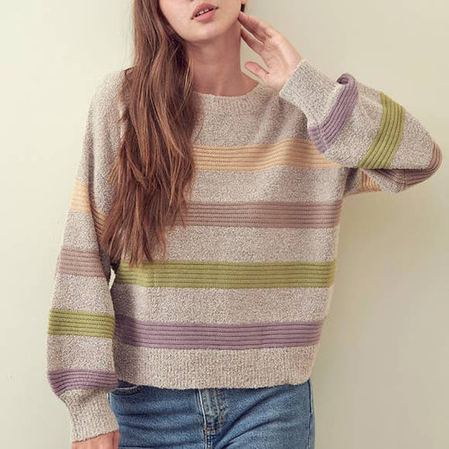 LEEAH MULTI STRIPE KNIT SWEATER