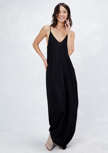 COCOON SIDE POCKETS MAXI DRESS