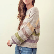 Load image into Gallery viewer, LEEAH MULTI STRIPE KNIT SWEATER