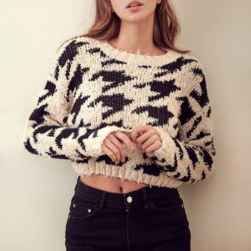 HOUNDSTOOTH CROP KNIT SWEATER