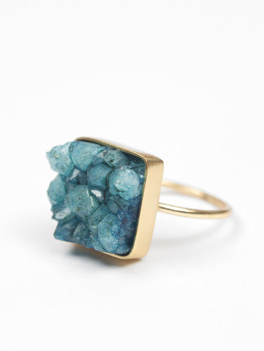 SQUARE DRUZY TURQUOISE RING