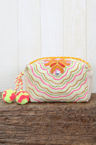 GEM EMBROIDERED POM POM MINI BAG