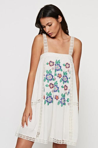 EMBROIDERED FLORAL TANK DRESS