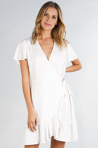 FLOUNCE WRAP STYLE TWILL MINI DRESS