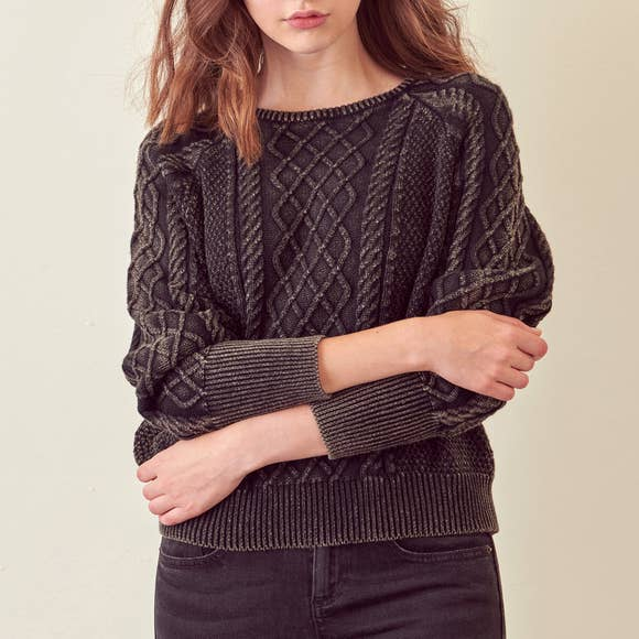 ELLE WASHED CABLE KNIT SWEATER