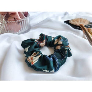 FLORAL EMERALD SATIN SCRUNCHIE