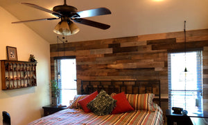 Reclaimed Wall Board Grey and Brown Mix in bedroom