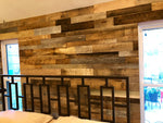 Reclaimed Wall planks in bedroom - Gray / Brown