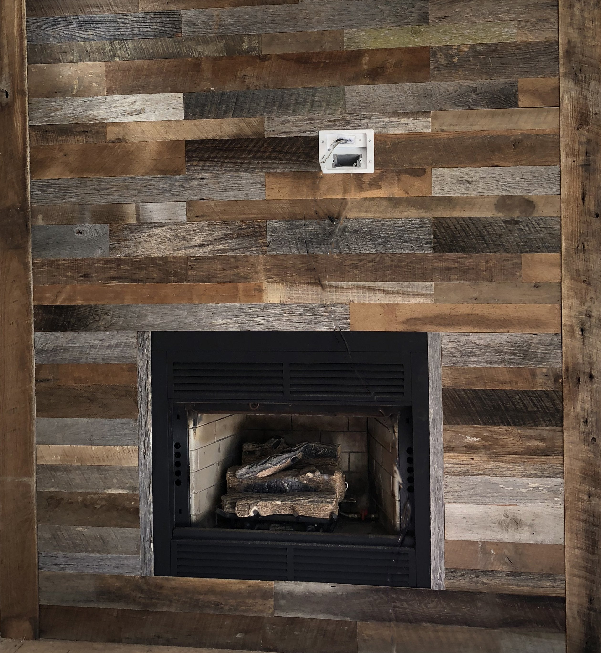 Grey & Brown Reclaimed Wall Board Fireplace