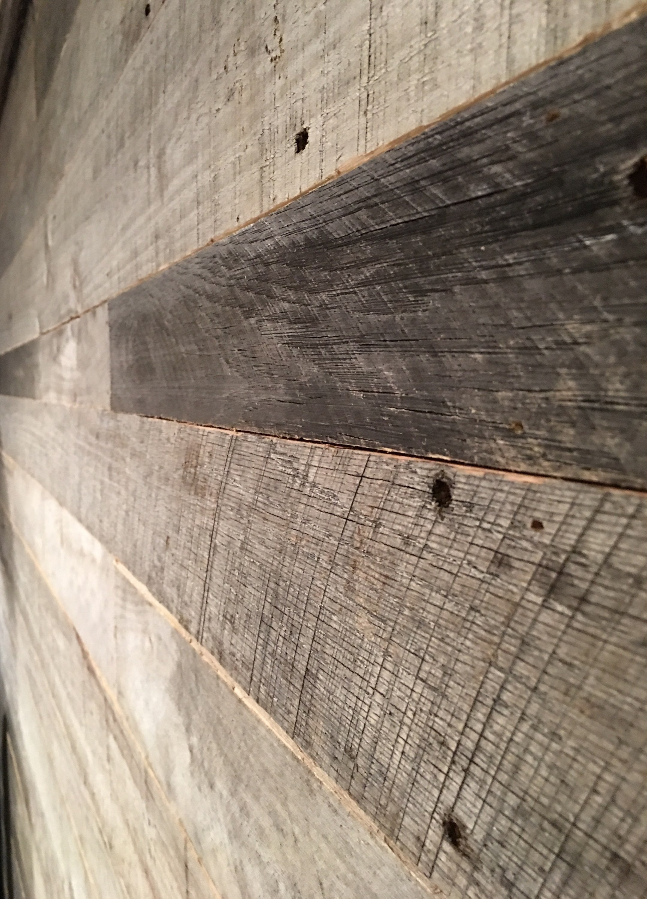Silver Grey Reclaimed Wall Paneling close up