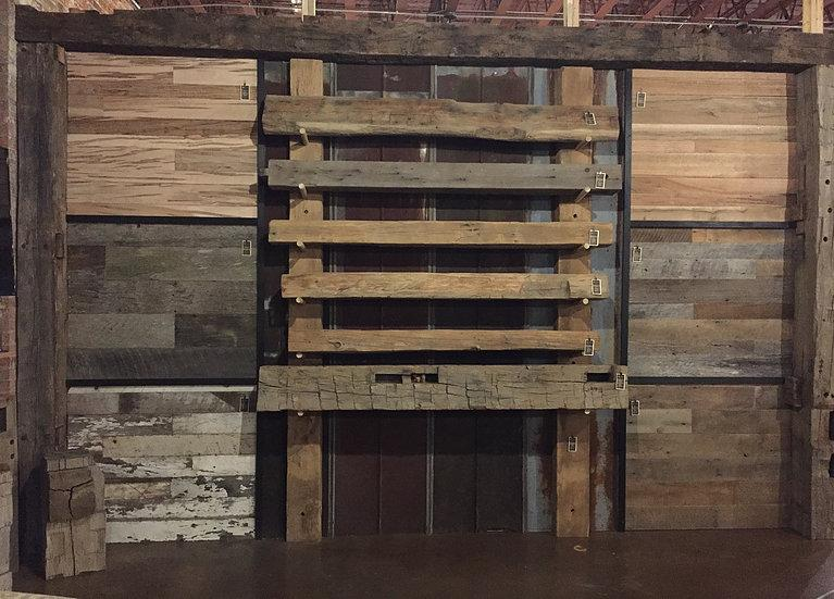 Rustic reclaimed wood mantle