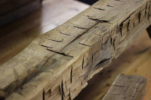 Reclaimed wood beam close up