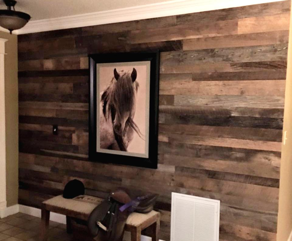 Grey & Brown Reclaimed Wall Board Accent Wall