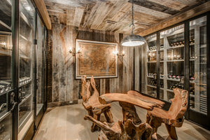 Wine cellar reclaimed wood wall board room design