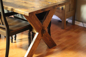 X-Leg Farm Table from Reclaimed Wood
