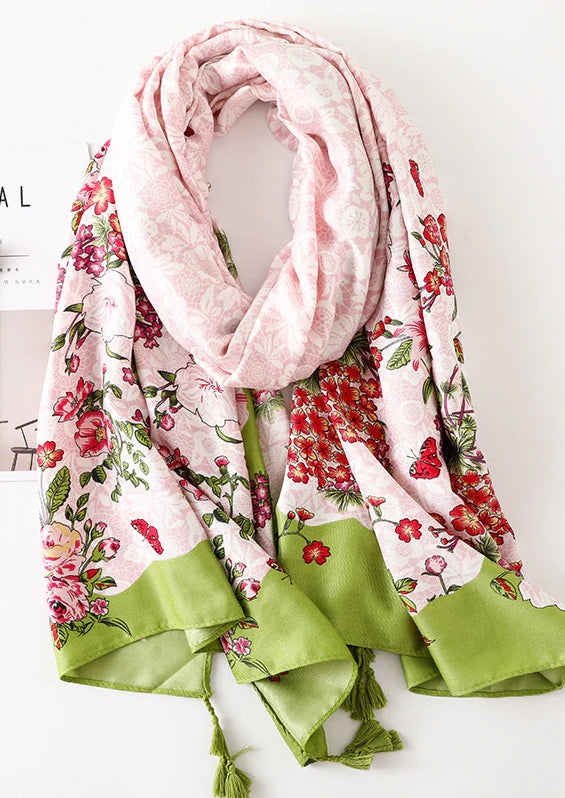 NEW: Floral Tassel Scarf - Lime Green and Light Pink