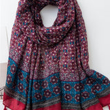 Floral Tassel Scarf - Maroon and Blue