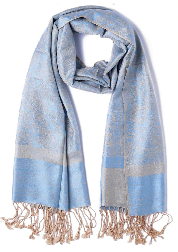 Cashmere Pashmina Style Scarf/Shawl - Sky Blue and Beige