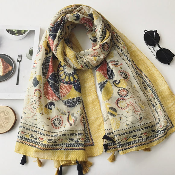 NEW: Floral Print Shawl/Scarf with Tassels 180*90Cm