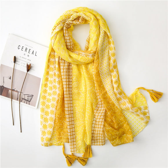 Yellow Print Scarf with Tassels
