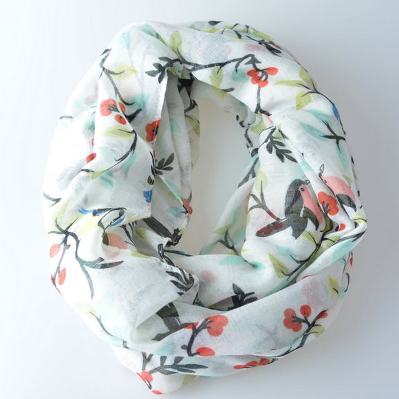 New! Birds and Flowers Print Infinity Scarf