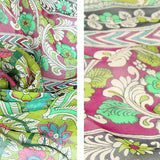 Silk Boho Style Shawl/Scarf - Green and Pink
