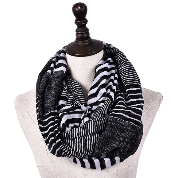 Striped Print Infinity Scarf