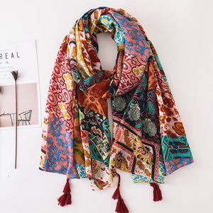 New! Multi-Colored Print Shawl/Scarf with Tassels