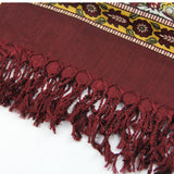 Pure Wool Boho Style Blanket Scarf - Red and Brown