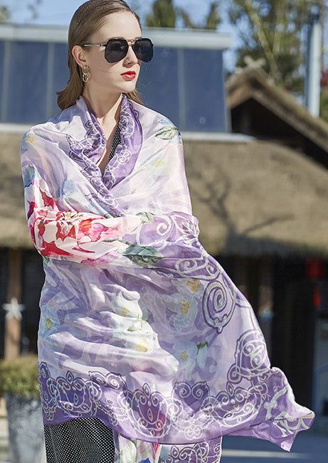 Silk Boho Style Shawl/Scarf - Light Purple