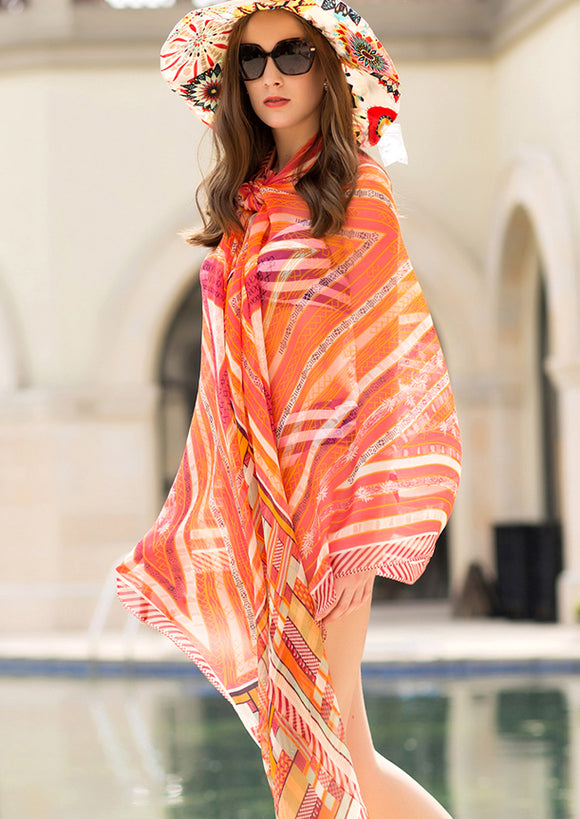 Silk Boho Style Shawl/Scarf - Orange