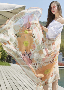 Silk Boho Style Shawl/Scarf - Pink, Apricot and White