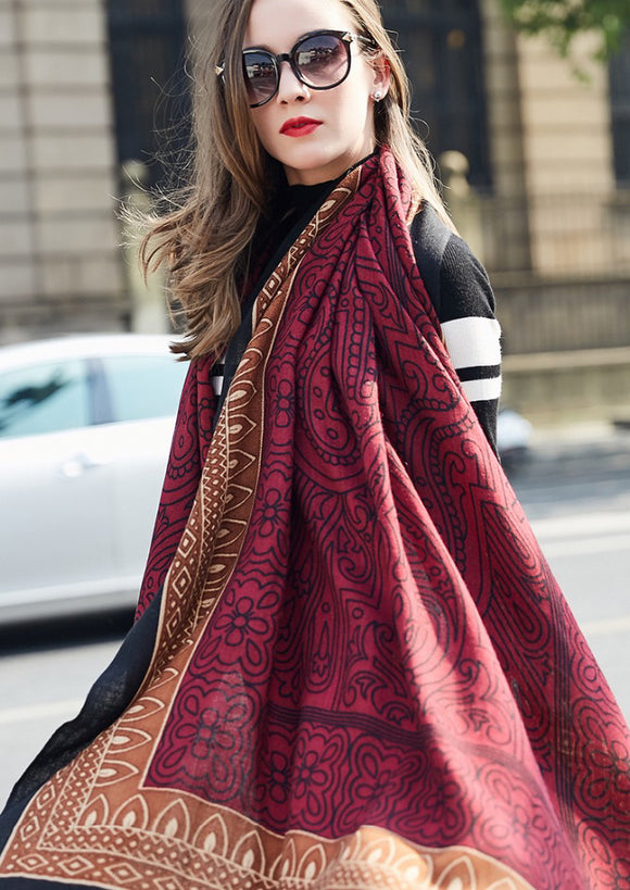 Pure Wool Boho Style Blanket Scarf - Burgundy and Brown