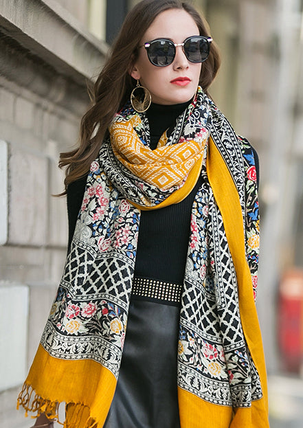 Pure Wool Boho Style Blanket Scarf - Yellow and Black