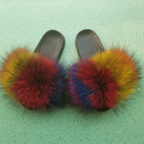 Raccoon Fur Slides (Multi)