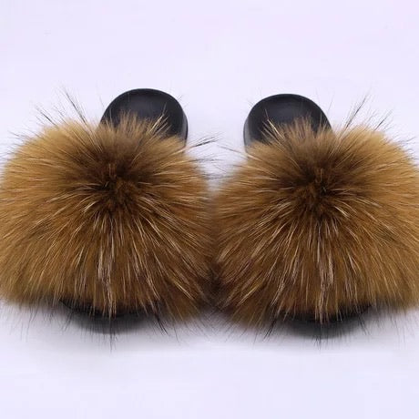 Kids Raccoon Fur Slide ( Brown)