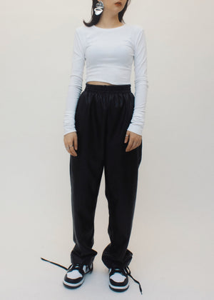 Faux leather slacks
