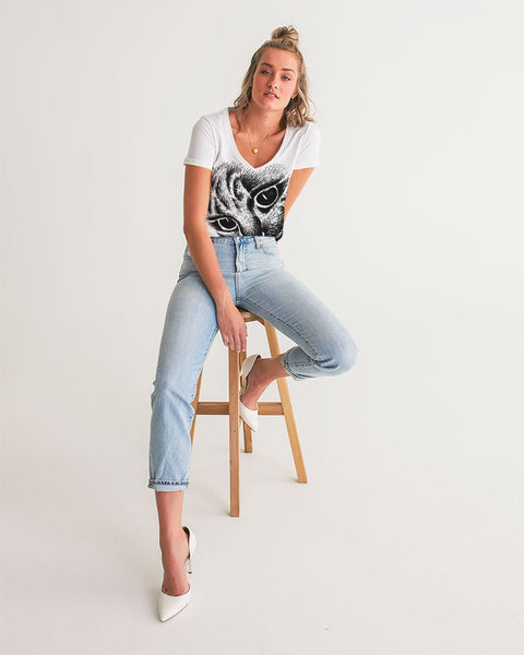 Sketchy Cat Women's V-Neck Tee