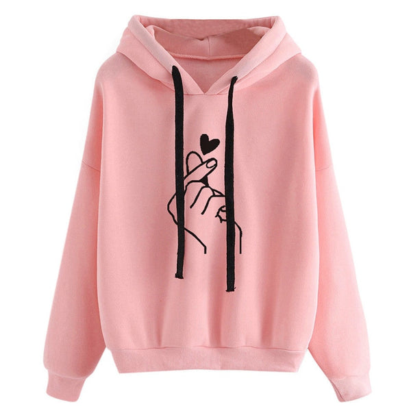 Pink Love Finger Casual Streetwear