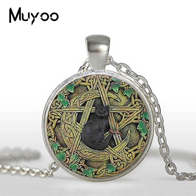 Vintage Glass Dome Pendant Black Wicca Pendant