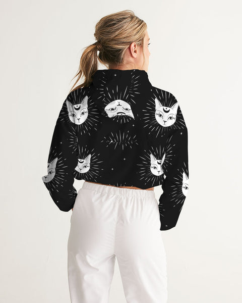 Night Cat Women's Cropped Windbreaker