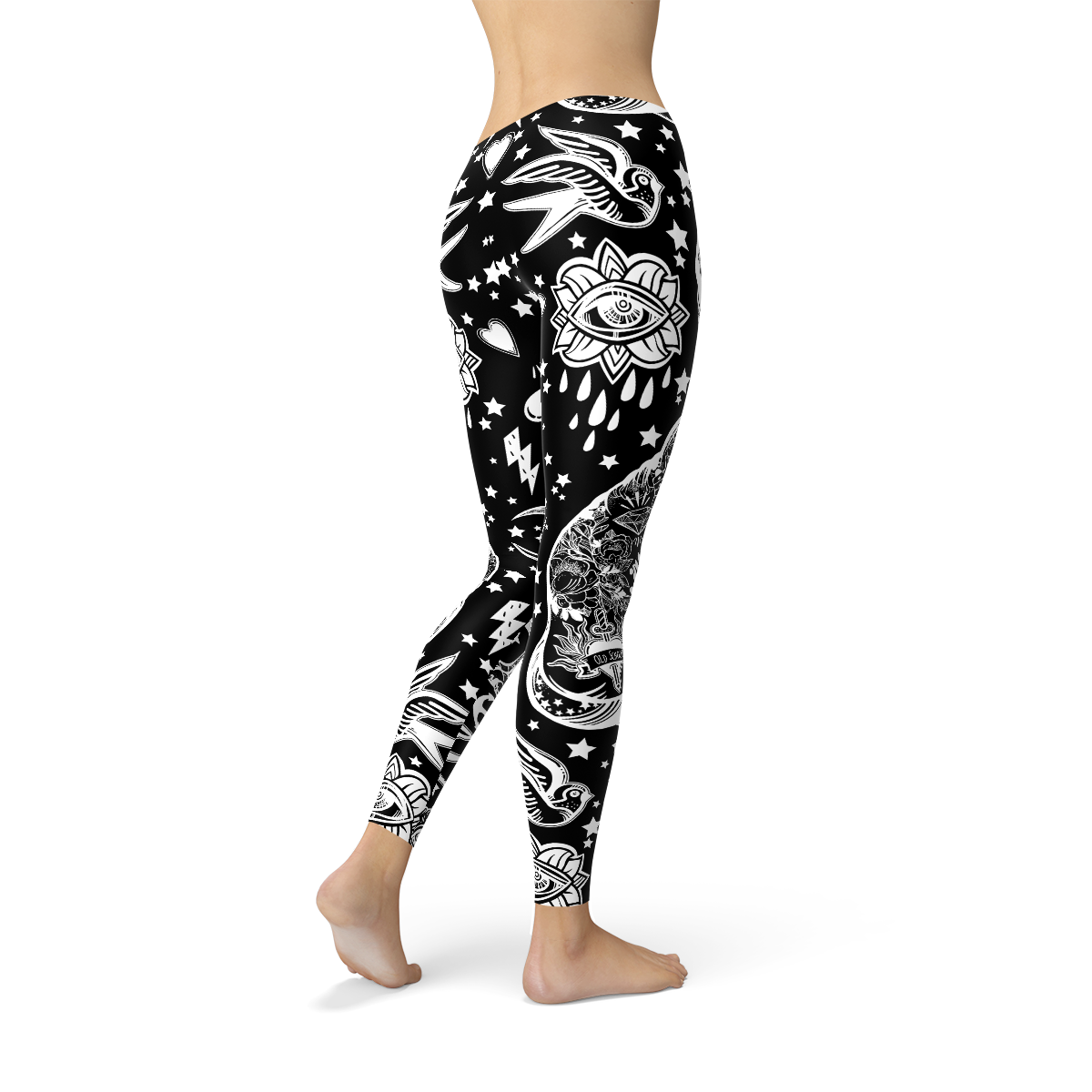 Womens Black Magic Cat Leggings