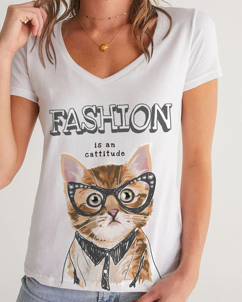 Fashion is a Cattitude Women's V-Neck Tee
