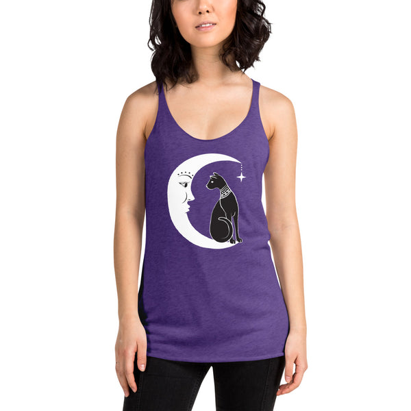 Cat and the Moon Women's Racerback Tank
