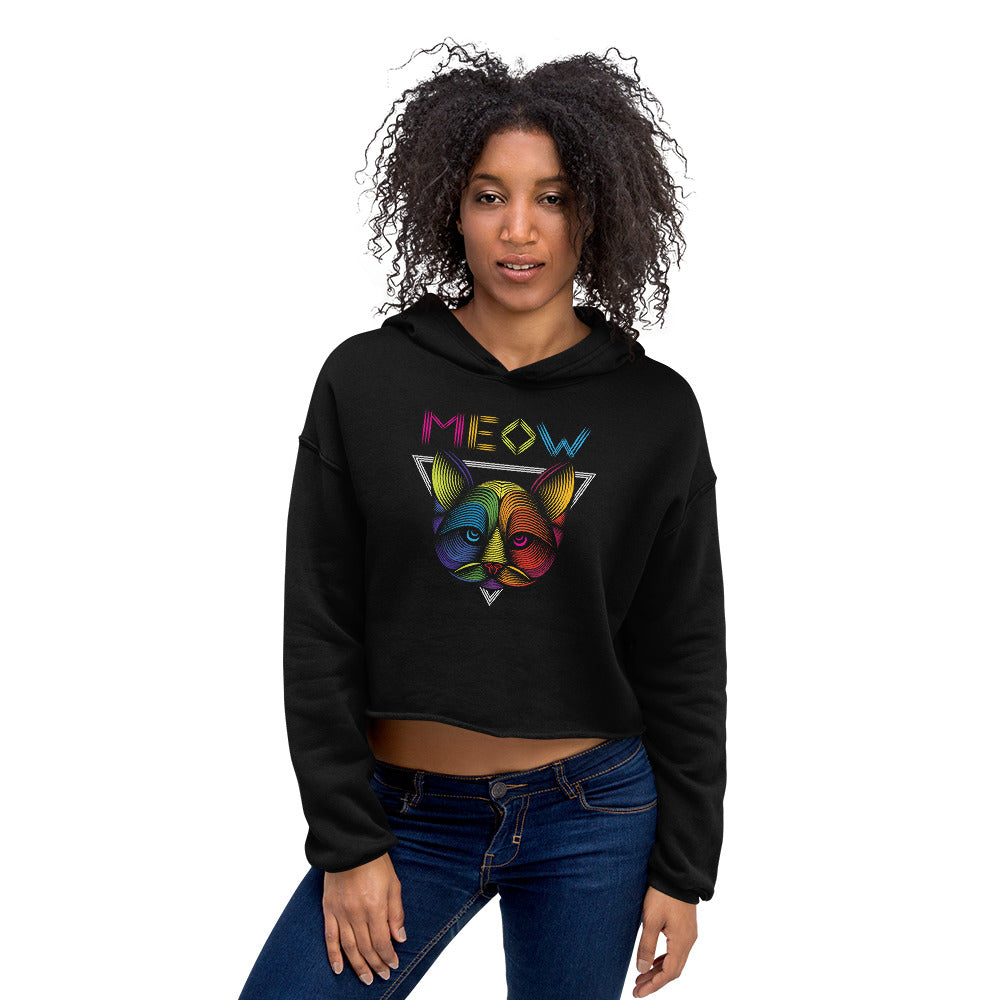 Geometrically Meowed Crop Hoodie