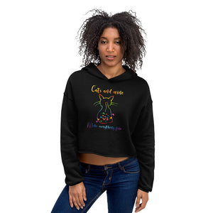 Cats and Wine Crop Hoodie